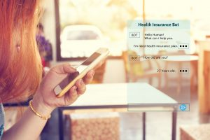 Woman chatting with automatic bot on smartphone and talking about consulting health insurance.